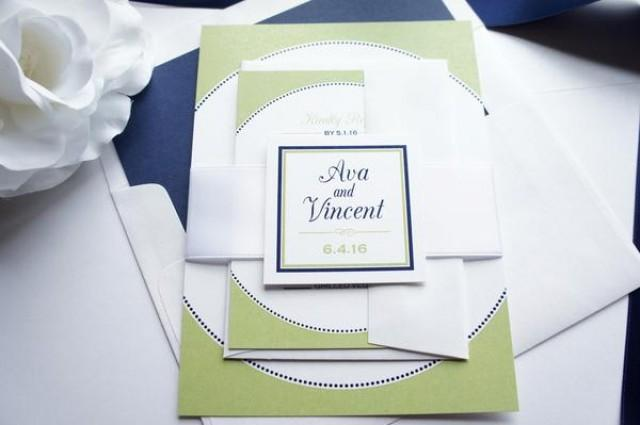 wedding photo - Green and Navy Wedding Invitation - SAMPLE SET