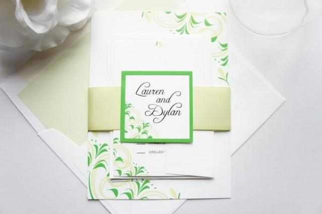 wedding photo - Green Flourish Wedding Invitation - SAMPLE SET