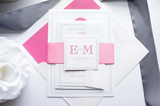 wedding photo - Hot Pink Wedding Invitation - SAMPLE SET