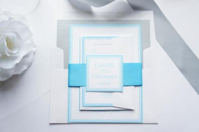 wedding photo - Island Blue Wedding Invitation - SAMPLE SET
