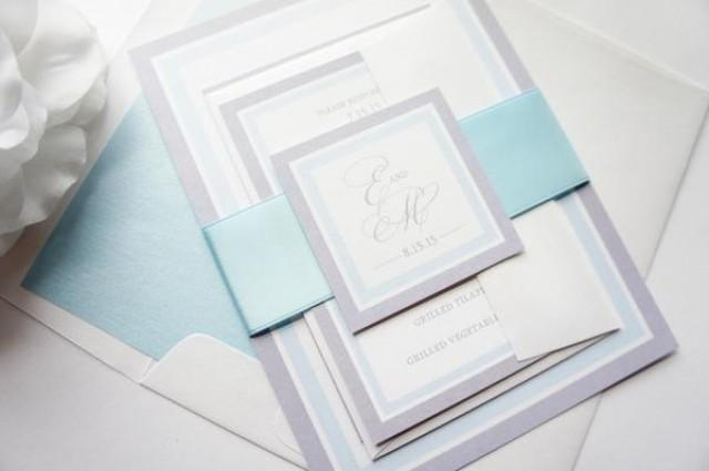 wedding photo - Light Blue Wedding Invitation - SAMPLE SET