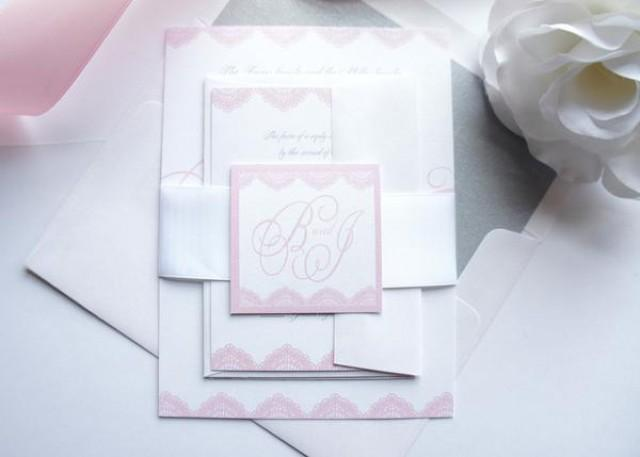 wedding photo - Light Pink Wedding Invitation - SAMPLE SET