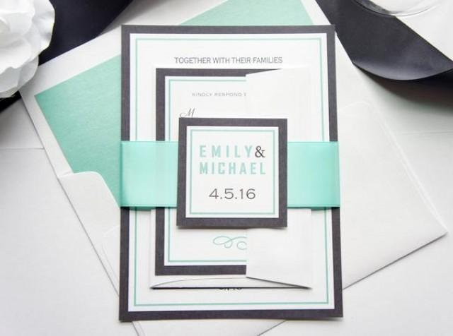 wedding photo - Mint Wedding Invitation - SAMPLE SET