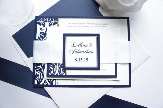 wedding photo - Navy Blue Damask Wedding Invitation - SAMPLE SET