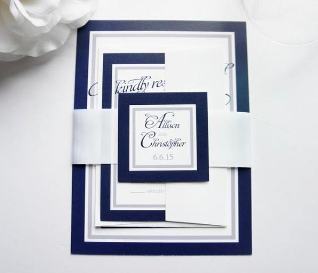 wedding photo - Navy Blue Wedding Invitation - SAMPLE SET