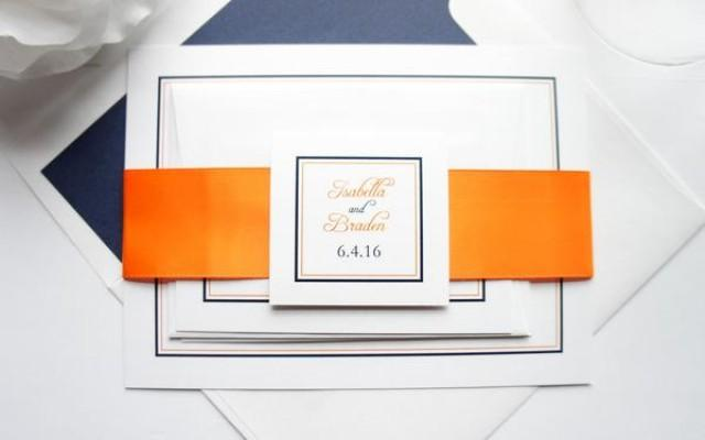 wedding photo - Orange and Navy Wedding Invitations - SAMPLE SET