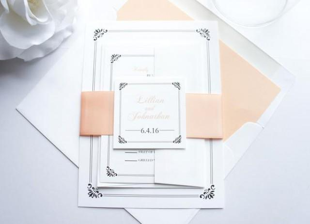 wedding photo - Peach Wedding Invitation - SAMPLE SET