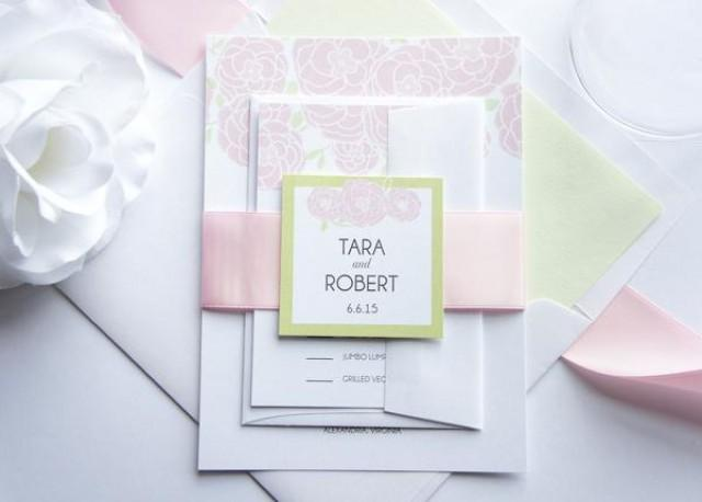 wedding photo - Pink Floral Wedding Invitation - SAMPLE SET