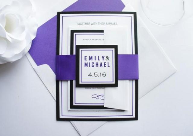 wedding photo - Purple and Black Wedding Invitation - SAMPLE SET