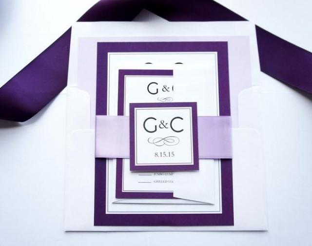 wedding photo - Purple Monogram Wedding Invitation - SAMPLE SET