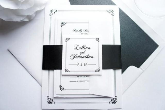 wedding photo - Regal Border Wedding Invitation - SAMPLE SET