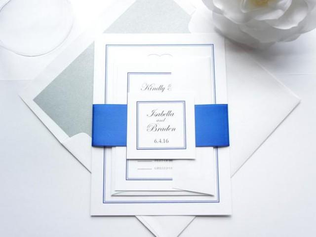 wedding photo - Royal Blue Monogram Wedding Invitation - SAMPLE SET