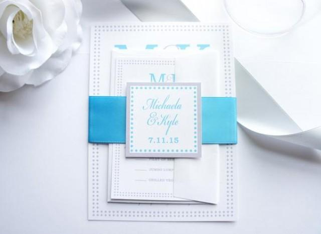 wedding photo - Silver and Blue Wedding Invitation - SAMPLE SET