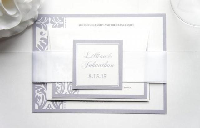 wedding photo - Silver Damask Wedding Invitation - SAMPLE SET