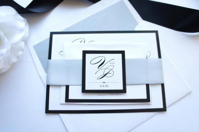 wedding photo - Silver Wedding Invitation - SAMPLE SET