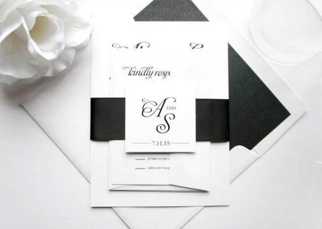 wedding photo - Simple Black Wedding Invitation - SAMPLE SET