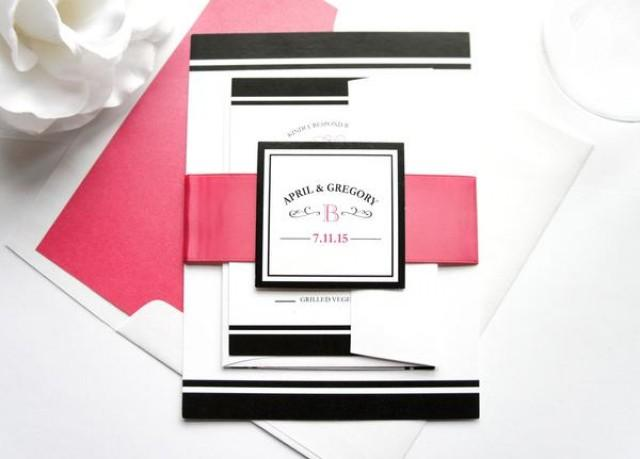 wedding photo - Stylish Monogram Wedding Invitation - SAMPLE SET
