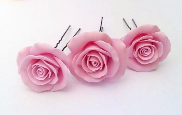 Blush Pink Hair Flower Or Brooch Bridal Wedding: Blush Pink Large Rose , Bridal Hair Accessory, Bridal Pink