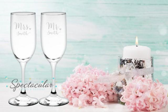 wedding photo - Personalized Mr and Mrs Champagne Flutes Set for Bride and Groom - Wedding Gift- (add last name in note to seller)
