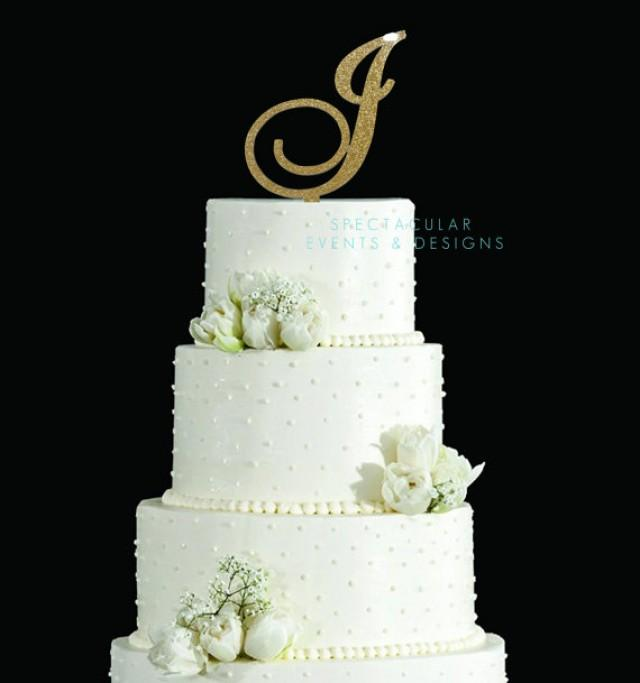 """wedding photo - 6"""" Tall Silver or Gold Glitter Acrylic Cake Topper Wedding Cake Topper Sweet Sixteen Cake Topper Bling Cake Topper Sparkly Cake Topper"""