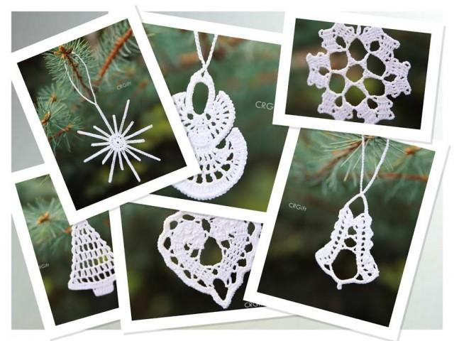 Crochet Christmas Tree Ornaments Set Of 6 Different