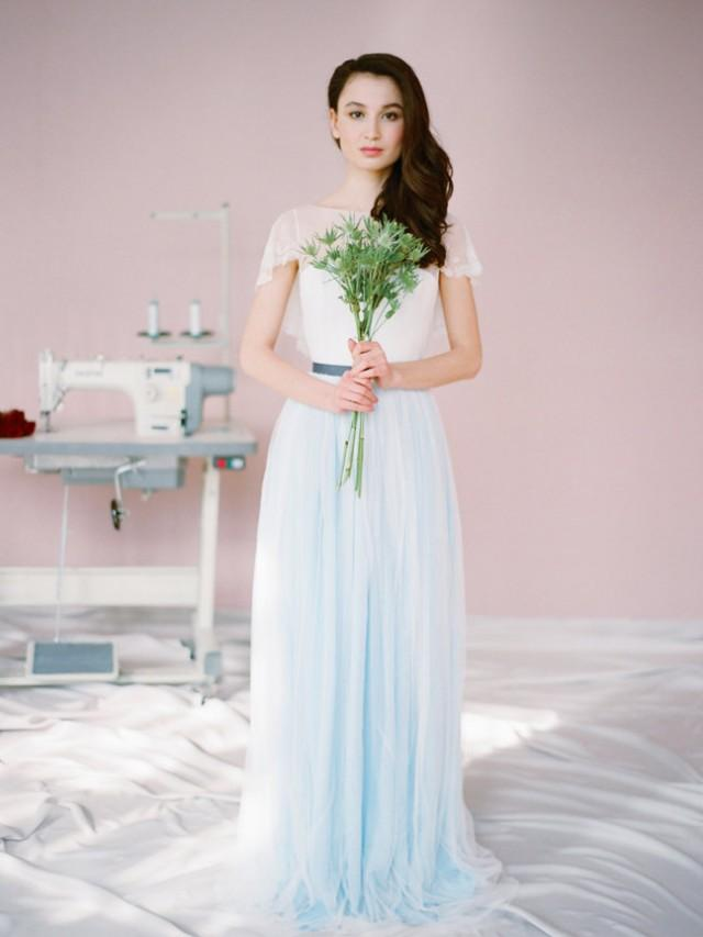 Nico blue wedding dress romantic wedding dress for Chiffon tulle wedding dress