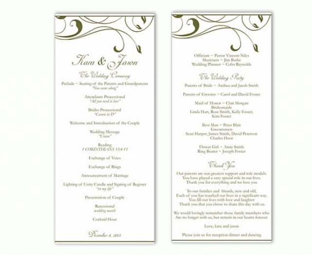 Wedding Program Template DIY Editable Word File Instant Download Green Elegant Printable