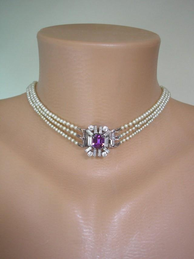 Amethyst And Pearl Necklace Backdrop Necklace Purple