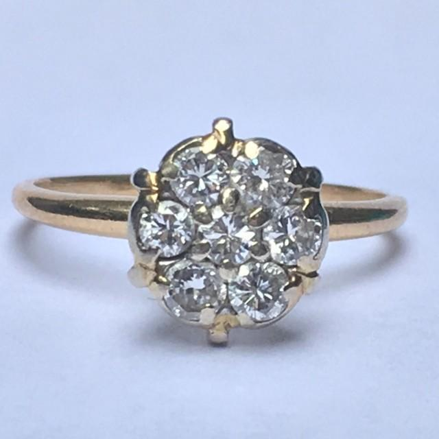 Vintage Diamond Cluster Ring 14k Yellow Gold Floral