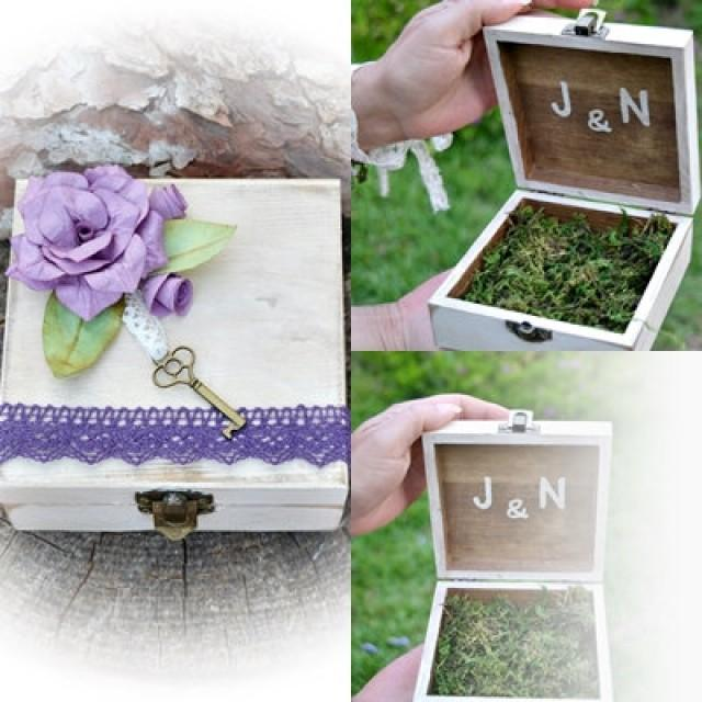 wedding photo - Alternative Wooden Box Custom Ring Bearer Purple Flower Lace.Personalized Ring Bearer Box moss.Initials ring box rustic wedding.Boho wedding
