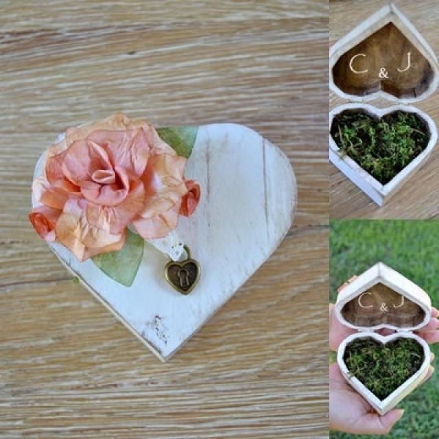 wedding photo - Original Wooden Heart Box Carrier Alliances . Heart Wedding Rings Paper flowers and moss.Personalizable ring bearer box. Alternative wedding
