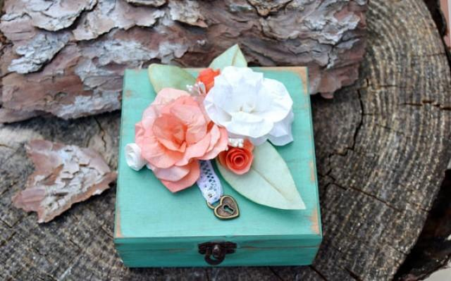 wedding photo - Personalized Wooden Box Ring Bearer Mint Coral Paper Flower. Custom ring bearer box moss.Romantic Ring bearer. Rustic wedding ceremony.