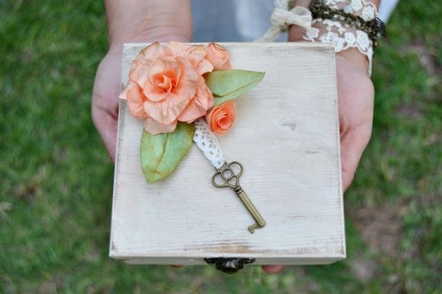 wedding photo - Custom Ring Bearer Box Paper Flowers Moss,Alternative Box Ring Bearer Personalized,Initials Date Ring box,Rustic ring bearer white aged