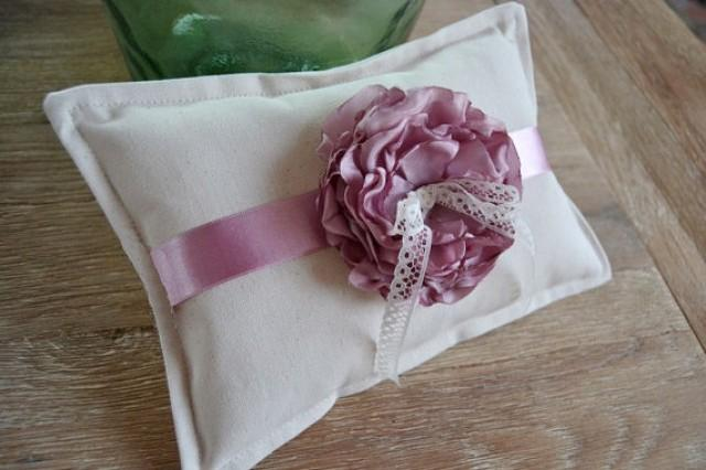 wedding photo - Ivory Wedding Ring Pillow Pink Fabric flower. Original Ring Pillow Rustic Wedding. Ring Bearer Pillow Center Flower. Ivory Pink ring holder