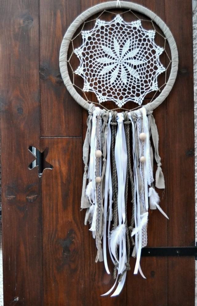 wedding photo - Large Dream Catcher Boho Weedding. Large White Lace Dream Catcher.Wall Hanging Dreamcatcher. Bohemian Hippie Decor.Tribal decor. Home decor.