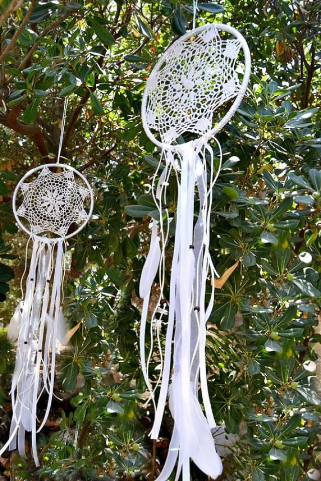 wedding photo - White Crochet Dream Catcher.Wedding Dream Catcher.Bohemian Crochet Dream Catcher Feathers Boho Wedding decor.Dream Catcher Wall Hanging
