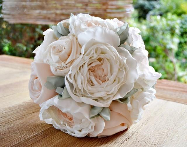 wedding photo - Alternative Peonies and Roses Bouquet.Fabric wedding bouquet.Wedding spring bouquet.Blush Pink Pastel Roses Off White Peonies Roses Bouquet