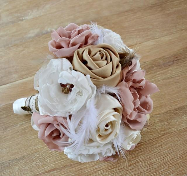 wedding photo - Vintage Wedding Bouquet Fabric Flowers Feathers. Wedding Bouquet. Blush Bridal Bouquet. Ivory, blush, cream tones, champagne, dusty pink