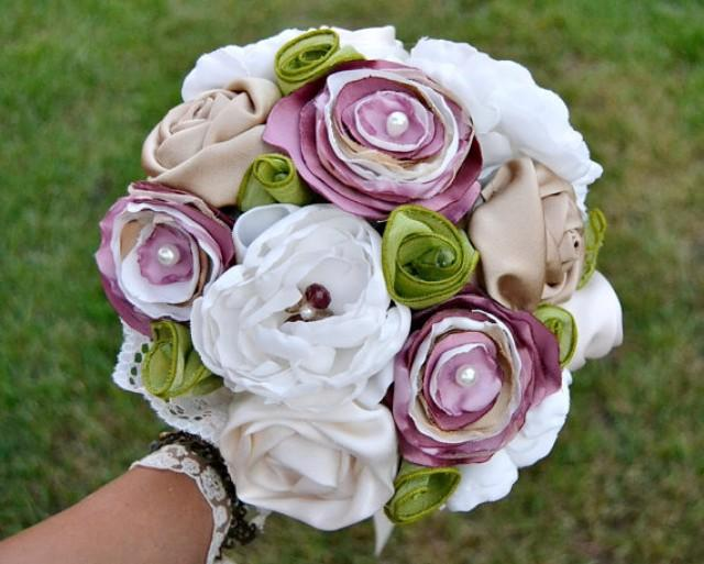 wedding photo - Wedding Fabric Bouquet Bright Colours. Bridal Bouquet with custom cabochon.Personalizable wedding bouquet deep pink green white