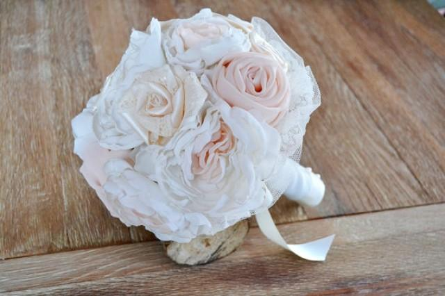 wedding photo - Bridal Bouquet Peonies and Roses. Garden Rustic Chic Wedding. Wedding fabric bouquet. Romantic bride bouquet handmade.