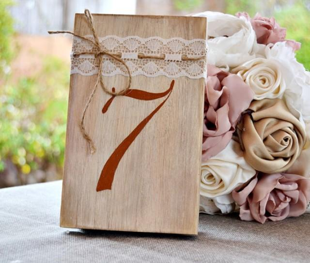 wedding photo - Wedding Table Numbers Wood Hand Painted Lace 1920. Romantic Table Number. Wedding Table Decor Great Gatsby. Rustic Wedding centerpiece.