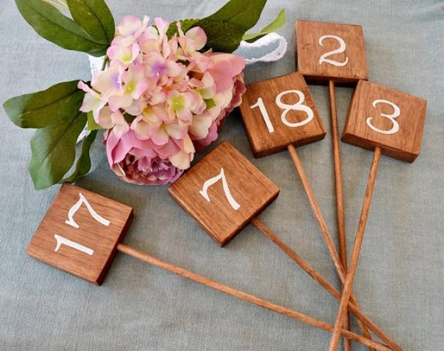 wedding photo - Wedding Table Numbers, Rustic Wooden Wedding Signs. Wooden Square Table Number Stick, Wedding Hand Lettered Sign. Wedding Centerpiece.