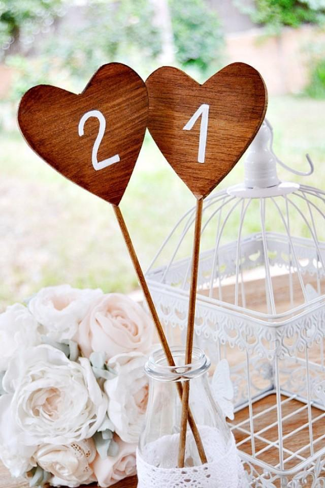 wedding photo - 5 Wooden Table Number Heart Shaped . Wooden Heart Wedding Table. Table Numbers on Stick . Hearts Wedding Table Number. Wedding Centerpiece.