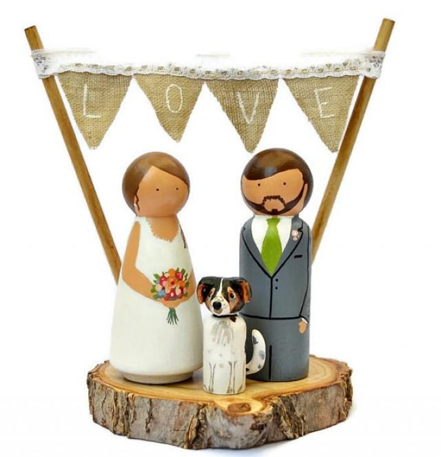 Custom Wooden Wedding Cake Toppers