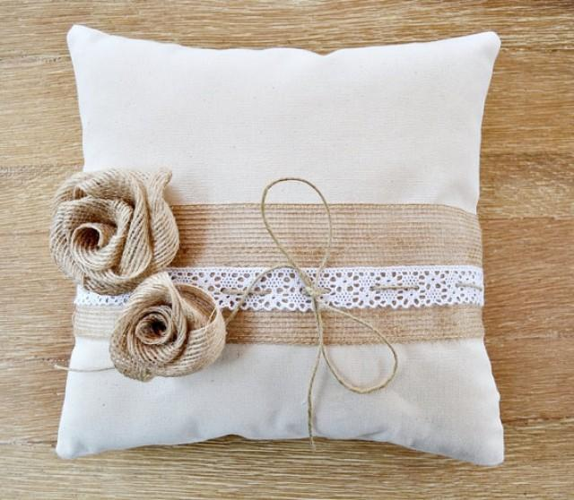 wedding photo - Wedding Ring Pillow Sinamai Flowers White Lace. Ivory linen Wedding Ring Pillow. Rustic ring pillow burlap flowers. Rustic ring holder