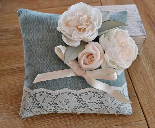 wedding photo - Wedding Ring Pillow Fabric Flowers Lace, Romantic Ring Pillow Peonies Roses Lace. Wedding Dusty Green Pillow. Shabby Chic Ring Pillow