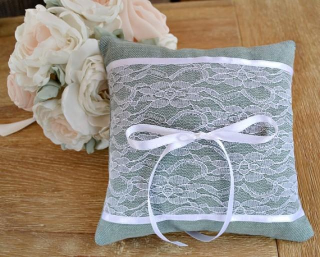 wedding photo - Dusty Green Ring Bearer Pillow. Wedding Ring Cushion White Lace. Shabby Chic ring pillow. Vintage ring bearer pillow. Lace Wedding Pillow.