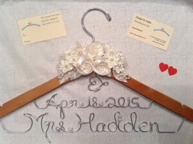 Wedding hanger bridal hanger dress hanger personalized for Personalized wire wedding dress hanger