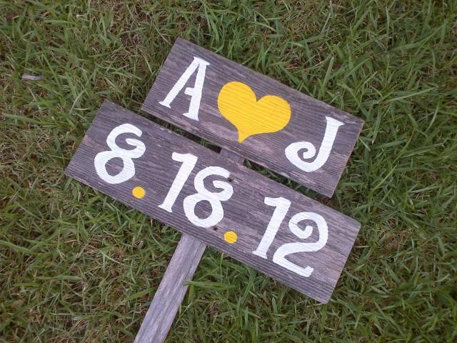 Initials Wedding Signs Date Rustic Outdoor Sign LARGE Hand Painted Reclaimed Wood Vintage Weddings Road 2582587