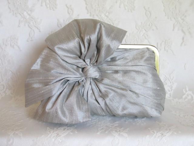 Silk Bow Clutch Grey MistBridal AccessoriesBridal Clutch Bridesmaid Clutch Clutch Purse ...